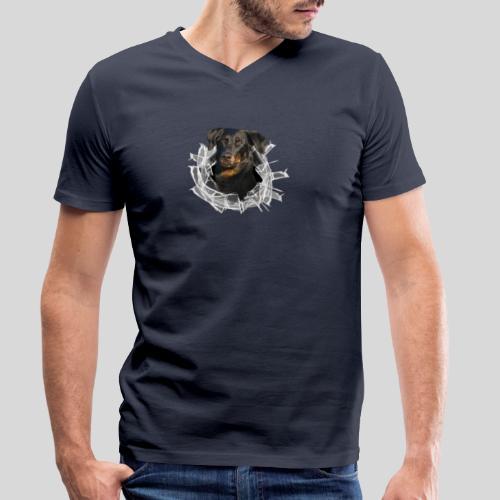 Beauceron im Glasloch - Männer Bio-T-Shirt mit V-Ausschnitt von Stanley & Stella