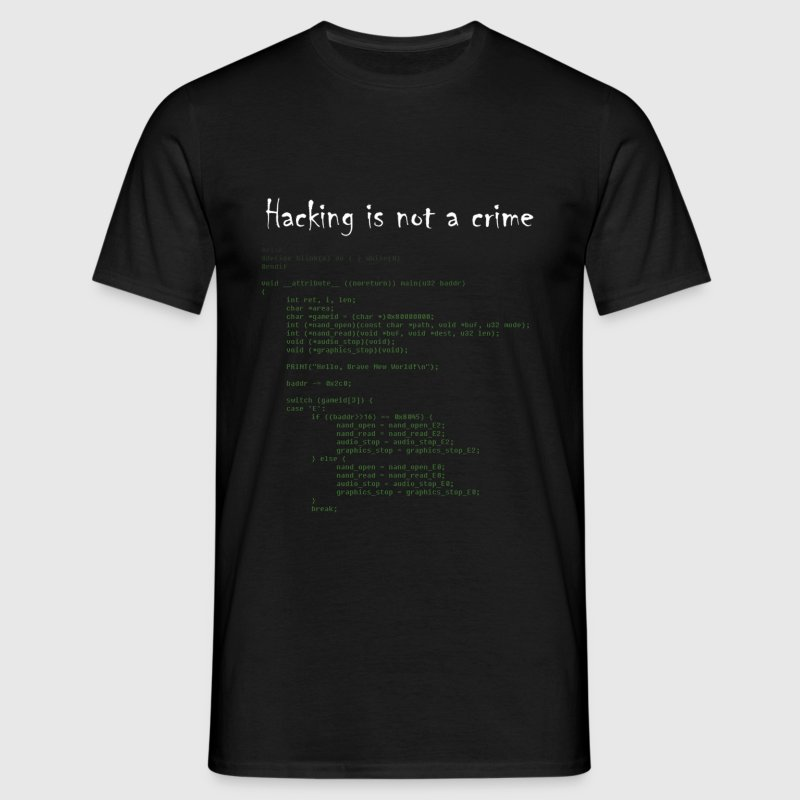 Noir Hacking is not a crime T-shirts - T-shirt Homme