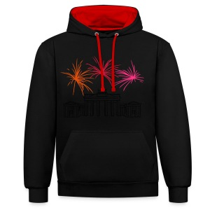 Berlin fireworks New Year's Eve at the Brandenburg Gate - Contrast Colour Hoodie