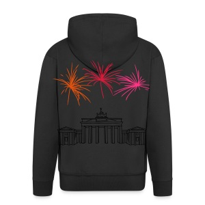 Berlin fireworks New Year's Eve at the Brandenburg Gate - Men's Premium Hooded Jacket