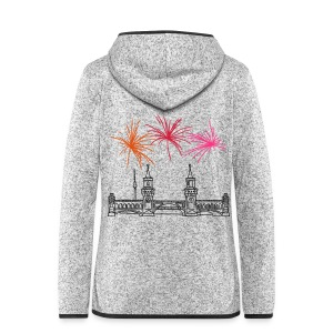 Fireworks New Year's Eve at Oberbaum Bridge in Berlin - Women's Hooded Fleece Jacket