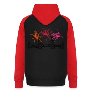 Fireworks New Year's Eve at Oberbaum Bridge in Berlin - Unisex Baseball Hoodie