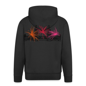 Fireworks New Year's Eve at Oberbaum Bridge in Berlin - Men's Premium Hooded Jacket