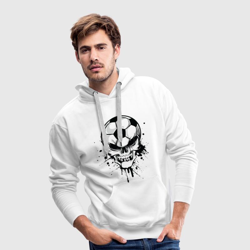 Blanc soccer skull kicker ball football pirat Sweatshirts - Sweat-shirt à capuche Premium pour hommes