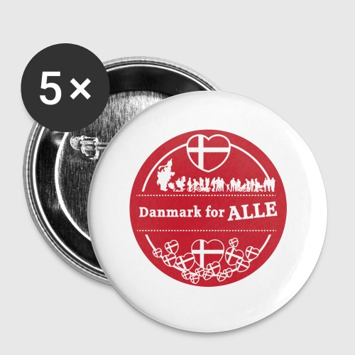 Danmark for ALLE - Buttons/Badges lille, 25 mm (5-pack)