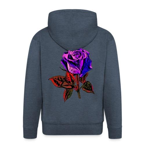 Rose bleue ,rouge, rose  - Veste à capuche Premium Homme