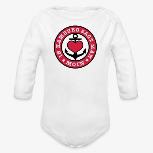 In Hamburg sagt man MOIN Anker Maritim T-Shirt Kinder - Baby Bio-Langarm-Body