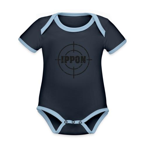 Target Judo-Ippon schwarz Grunge Karsten - Baby Bio-Kurzarm-Kontrastbody