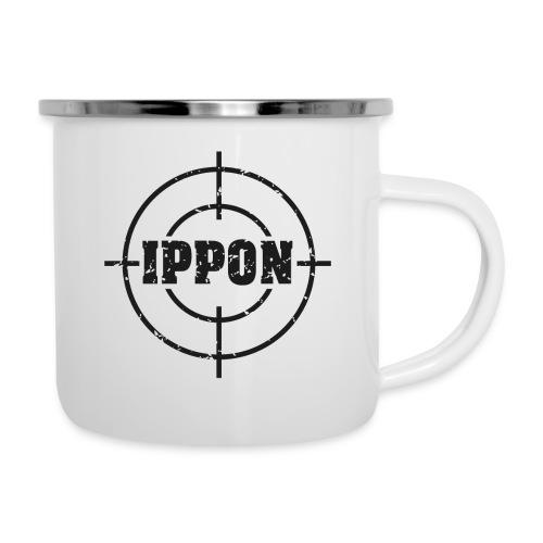 Target Judo-Ippon schwarz Grunge Karsten - Emaille-Tasse