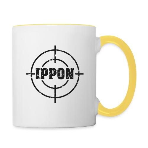 Target Judo-Ippon schwarz Grunge Karsten - Tasse zweifarbig