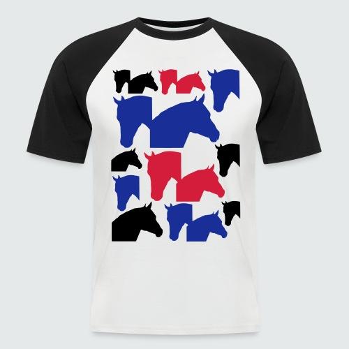 Pferdekopf-Collage-2 - Männer Baseball-T-Shirt