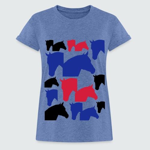 Pferdekopf-Collage-2 - Frauen Oversize T-Shirt