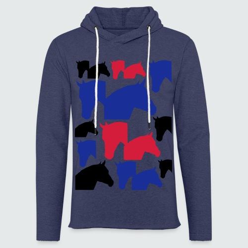 Pferdekopf-Collage-2 - Leichtes Kapuzensweatshirt Unisex