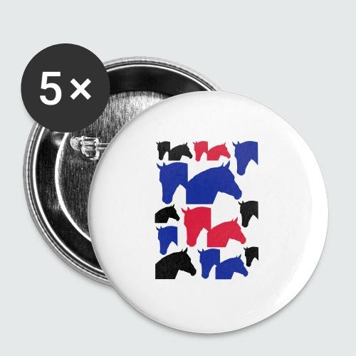 Pferdekopf-Collage-2 - Buttons mittel 32 mm