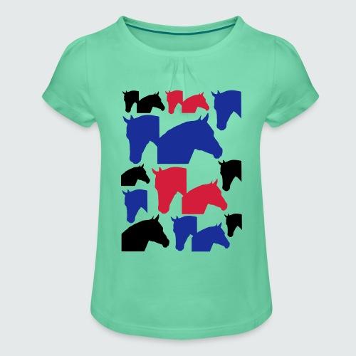 Pferdekopf-Collage-2 - Mädchen-T-Shirt mit Raffungen