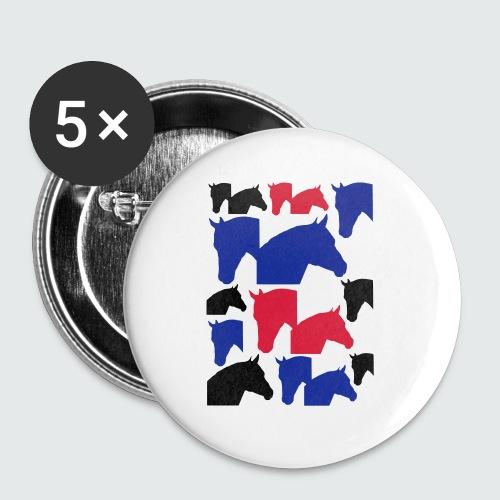 Pferdekopf-Collage-2 - Buttons klein 25 mm (5er Pack)