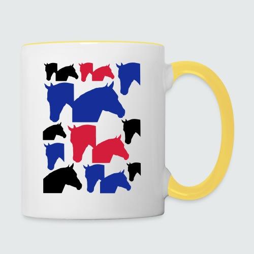 Pferdekopf-Collage-2 - Tasse zweifarbig