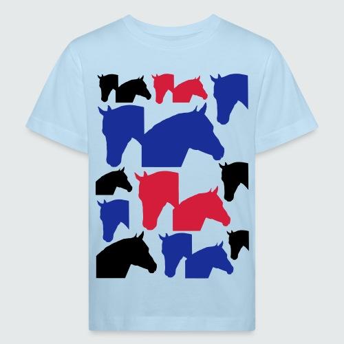 Pferdekopf-Collage-2 - Kinder Bio-T-Shirt