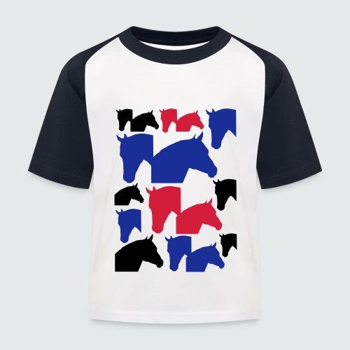 Pferdekopf-Collage-2 - Kinder Baseball T-Shirt