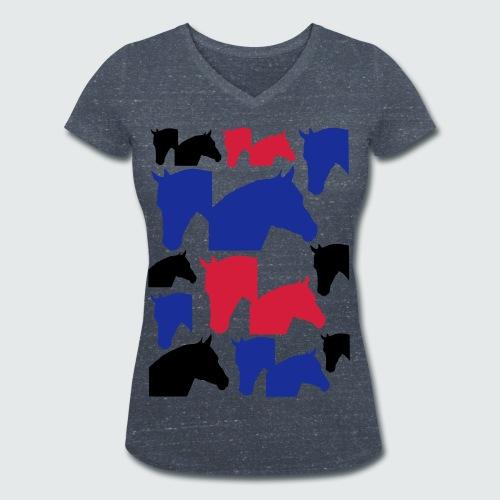 Pferdekopf-Collage-2 - Frauen Bio-T-Shirt mit V-Ausschnitt von Stanley & Stella