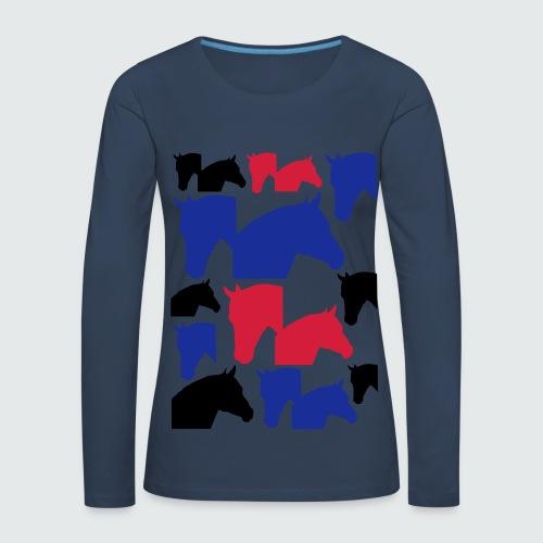 Pferdekopf-Collage-2 - Frauen Premium Langarmshirt