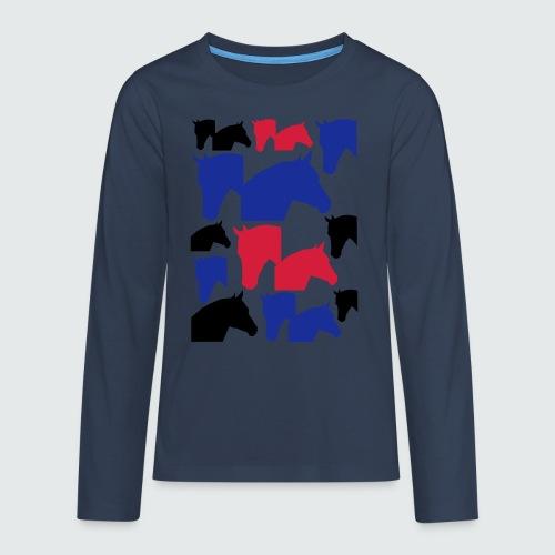 Pferdekopf-Collage-2 - Teenager Premium Langarmshirt