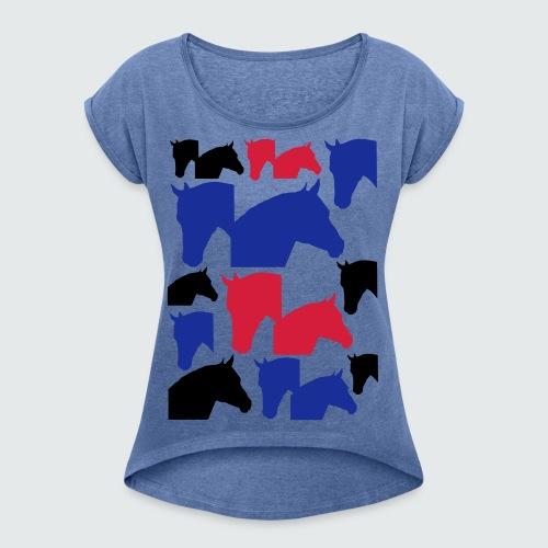 Pferdekopf-Collage-2 - Frauen T-Shirt mit gerollten Ärmeln