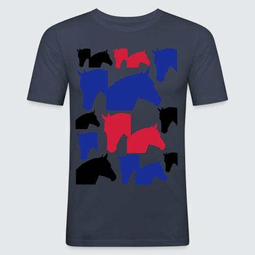 Pferdekopf-Collage-2 - Männer Slim Fit T-Shirt