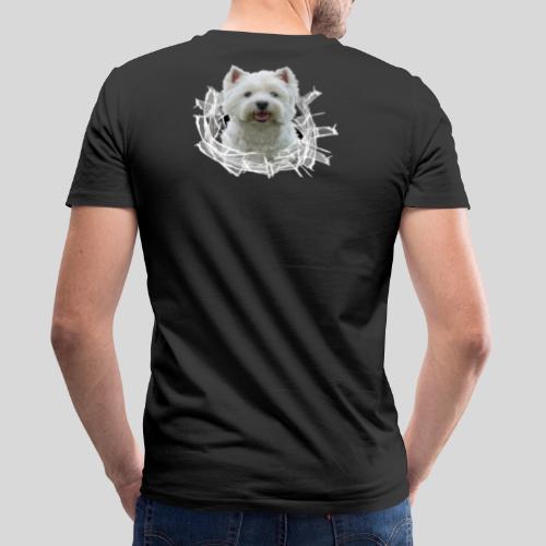 West Highland Terrier im Glasloch - Männer Bio-T-Shirt mit V-Ausschnitt von Stanley & Stella