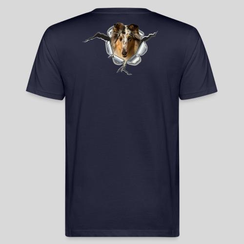 Collie (3) im Metall-Loch - Männer Bio-T-Shirt