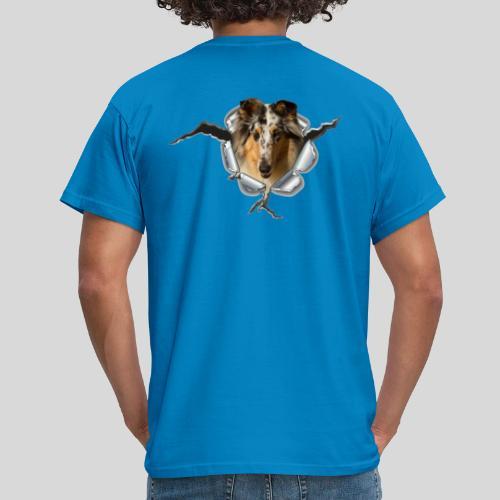 Collie (3) im Metall-Loch - Männer T-Shirt