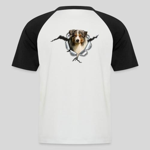 Australian Shepherd im Metall-Loch - Männer Baseball-T-Shirt
