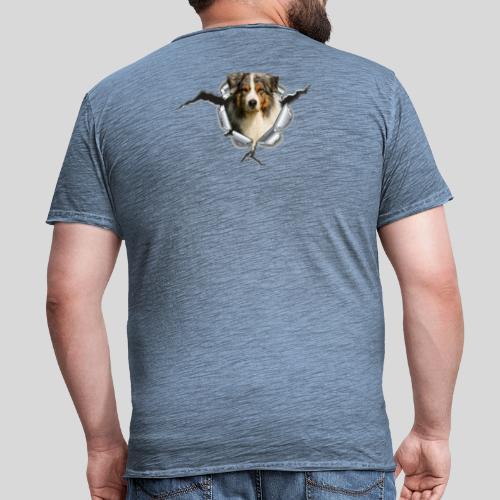 Australian Shepherd im Metall-Loch - Männer Vintage T-Shirt