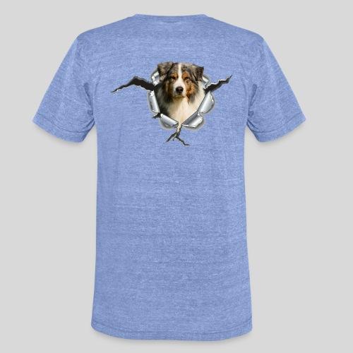 Australian Shepherd im Metall-Loch - Unisex Tri-Blend T-Shirt von Bella + Canvas
