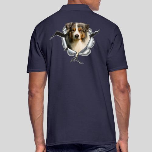 Australian Shepherd im Metall-Loch - Männer Poloshirt