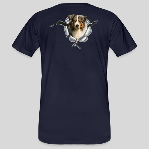 Australian Shepherd im Metall-Loch - Männer Bio-T-Shirt