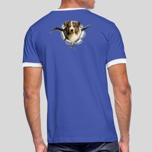 Australian Shepherd im Metall-Loch - Männer Kontrast-T-Shirt
