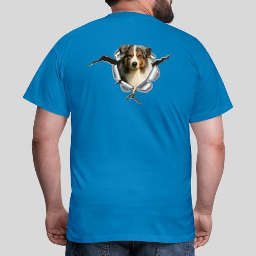 Australian Shepherd im Metall-Loch - Männer T-Shirt
