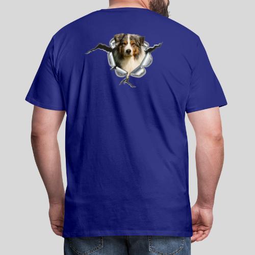 Australian Shepherd im Metall-Loch - Männer Premium T-Shirt