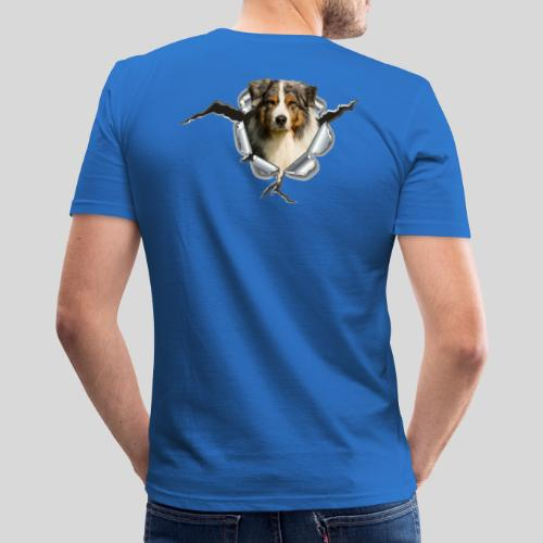Australian Shepherd im Metall-Loch - Männer Slim Fit T-Shirt