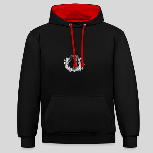 Curly Coated Black im Glasloch - Kontrast-Hoodie