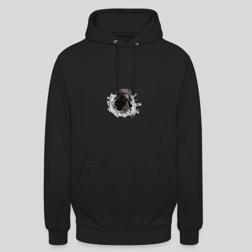 Curly Coated Black im Glasloch - Unisex Hoodie