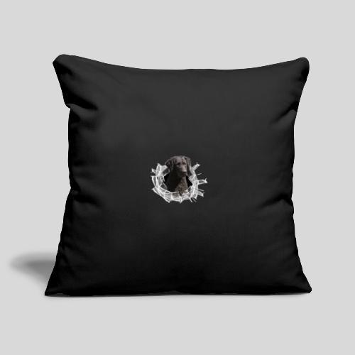 Curly Coated Black im Glasloch - Sofakissenbezug 44 x 44 cm