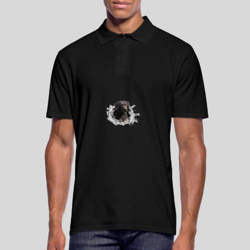 Curly Coated Black im Glasloch - Männer Poloshirt