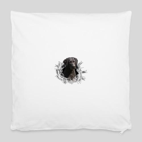 Curly Coated Black im Glasloch - Kissenbezug 40 x 40 cm