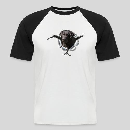 Curly Coated Black im Metall-Loch - Männer Baseball-T-Shirt