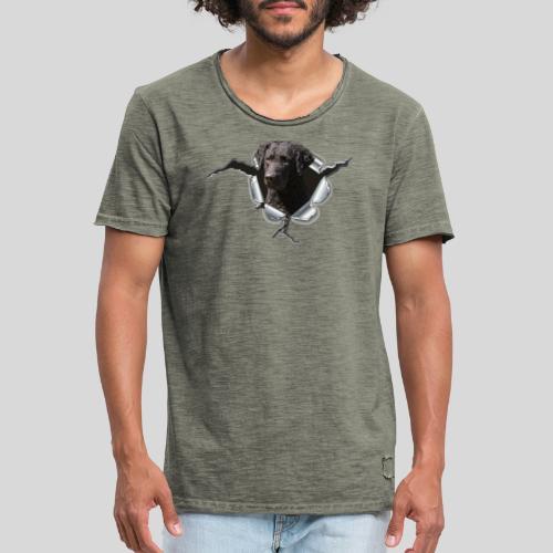 Curly Coated Black im Metall-Loch - Männer Vintage T-Shirt