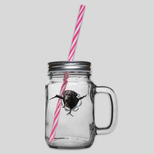 Curly Coated Black im Metall-Loch - Henkelglas mit Schraubdeckel