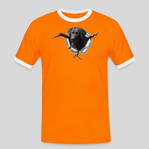 Curly Coated Black im Metall-Loch - Männer Kontrast-T-Shirt
