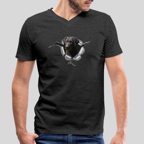Curly Coated Black im Metall-Loch - Männer Bio-T-Shirt mit V-Ausschnitt von Stanley & Stella